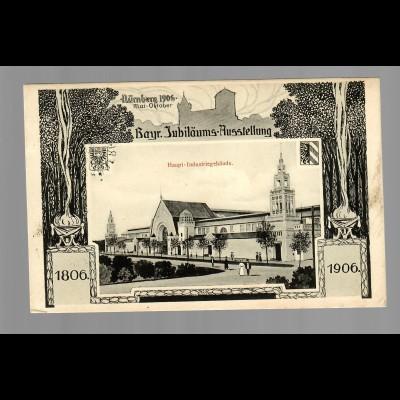 Ansichtskarte 1906 Nürnberg Jubiläums Ausstellung, Haupt Industriegebäude-Werdau