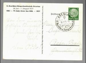 Ganzsache Breslau 1937, Sängerbundesfest, Sonderstempel Dt. Sängerbund