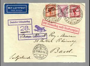 Schleuderflug 1932 von der Europa nach Southhampton nach Basel
