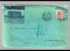 letter from Kobenhavn 1914 to Sondertofte, stamp PERFIN