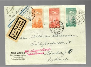 air mail Aalborg to Nürnberg: Mit Luftpost befördert, Flughafen Nürnberg 1934