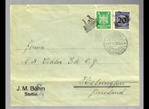 Finnische Schiffspost 1925 von Stettin nach Helsinki