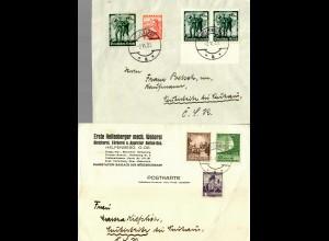5x Briefe Ostmark/Österreich 1938, teils Einschreiben, Helfenberg
