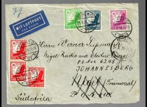 Luftpost Brief nach Südafrika von Berlin 1936