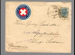 via Train Hotel Helvetia cover, Florence nach Grossenhain, durchzusehen 1909