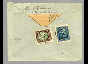 Lettland Leepaja: R-Zettel über Ausland/Königsberg nach München 1920