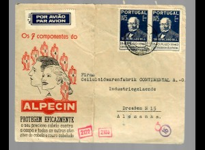 air mail Lisboa to Dresden 1940, OKW censorship, Alpecin