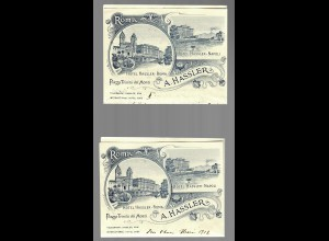 2x Hotel letter 1912, Roma Hotel Hassler, Piazza Trinita dei Monti, 2x folded