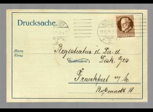 Drucksache Karte 1915 von München nach Frankfurt, Buchbinderei, Vertreterbesuch