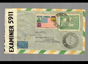 Brazil 1946 via air mail to Hannover, censor