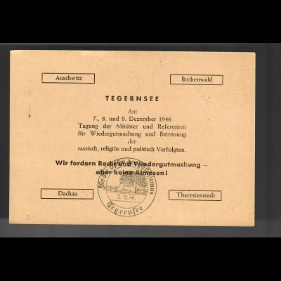 1946: Ganzsache Tegernsee, Opfer Faschismus, Auschwitz, Buchenwald, Dachau, ...