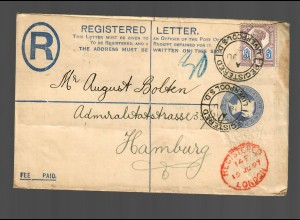 registered letter Liverpool 1897 to Hamburg via London