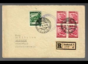 Einschreiben Innsbruck 1946 nach St. Pölten, Sonderstempel Theaterwochen/Musik