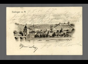 Ansichtskarte Esslingen/N Bahnhof-Stempel 1905 nach Stuttgart