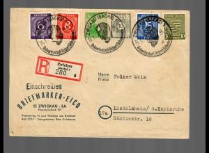 Einschreiben Zwickau nach Liedolsheim, MiF 1946