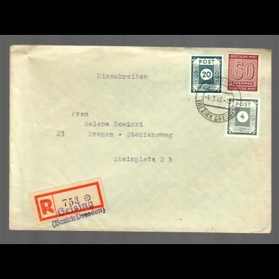 Einschreiben Geising/Bz. Dresden 1946 nach Bremen, MiF