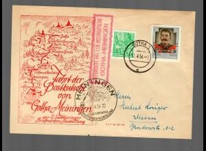 DDR Postkarte Meiningen/Gotha 1954, Postkutschen Stempel, Sonderstempel