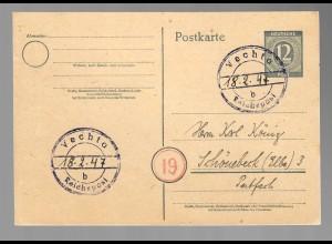 Ganzsache 1947 Vechta-b, Reichspost, seltener Stempel