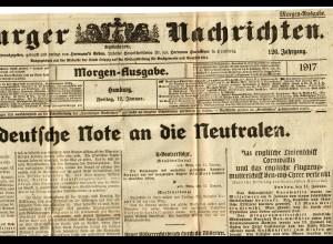 Hamburger Nachrichten 12.1.1917, A3 Größe, gefaltet, viele Infos