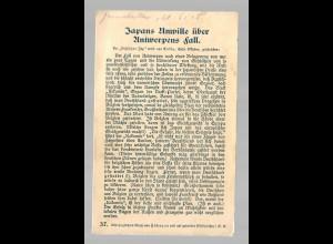 Feldpostkarte 1915 nach Zwickau: Text: Japans Unwille über Antwerpens Fall