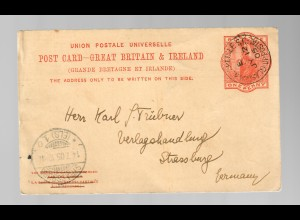 post card 1905: train stamp Glasgow-Carlisle to Strassbourg/France