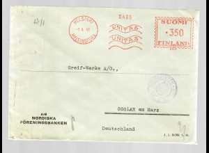 Helsinki 1941 Unitas to Goslar, 2x censor
