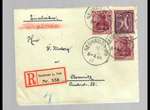 Einschreiben aus Neuhaus/Inn 1922 nach Chemnitz