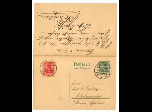 Ganzsache mit Antwortkarte 1920 von Baden Baden nach Wilhelminenhof, Dornum
