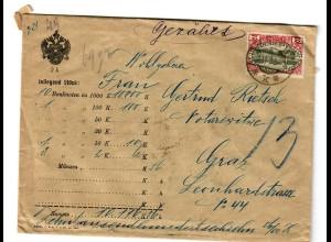 Geldbrief Wien 1915 nach Graz
