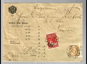 Geldbrief Pilsen 1910 nach Neuern