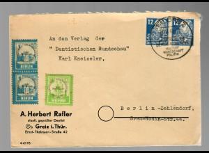 1949 Sonderstempel Greiz, Wertbriefmarke Deutscher Volkskongress Weimar/Berlin