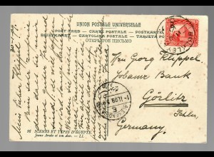 post card Egyptian Types and Scens, Donkey, 1909 via Alexandria to Görlitz