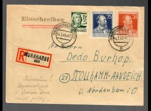 Einschreiben Murrhardt, 1947 nach Stollhamm-Ahndeich an bekannten Philatelisten