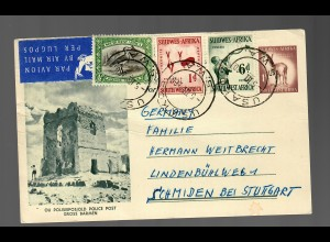 air mail post card Usakos to Schmiden/Germany, old poice post, Gross Barmen
