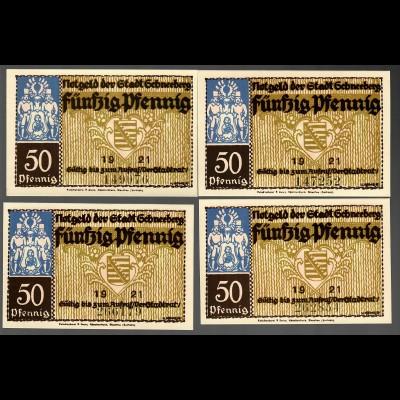 Notgeld der Stadt Schneeberg/Langgasse 1921, 4 Scheine je 50 Pfg