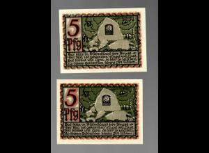 Notgeld der Stadt Osnabrück, 2 Scheine, je 5 Pfg 1921