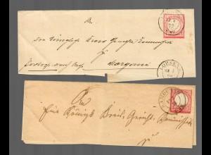 1872 Lobsens, 1874 Samoczyn, Posen-Bromberg, Briefteile
