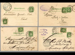 4x post card to Germany or Italy Tavanger, Stavanger, .. 1899
