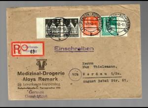 Einschreiben 1948 Leverkusen-Küppersteg nach Werdau