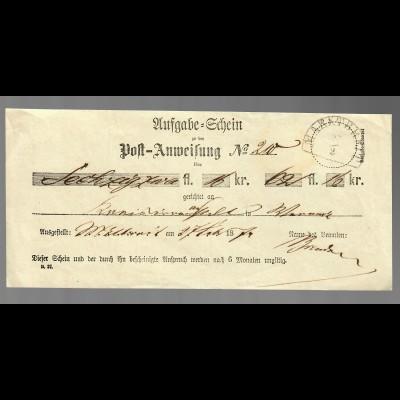 Aufgabe Schein, Postschein Marktbreit 1874