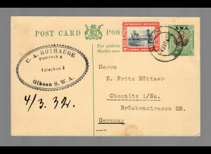 Post card Gibeen to Chemnitz/Germany 1932