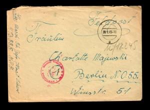 """Feldpost 19.1.45, Marine M13885 MPA nach Berlin mit Briefinhalt """"An Bord"""""""
