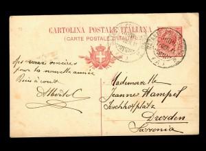 post card 1911 Milano to Dresden; Nantante Colico Como, Comersee, Schiffspost