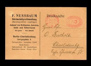 Postkarte Berlin Charlottenburg, Edelmetall/Gold/Silber/Juwelen 1922