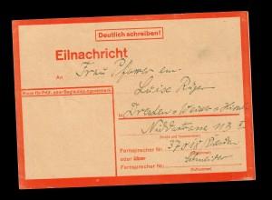 Eilnachricht/Lebenszeichen 28.1.1944 von Berlin nach Dresden