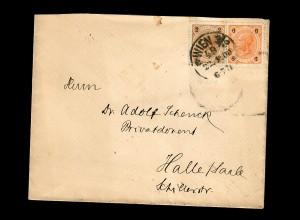 Brief aus Wien 1900 mit Kreuzer/Heller Frankatur nach Halle