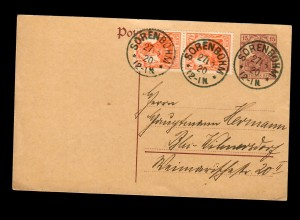Postkarte Sorenbohm/Pommern 1920 nach Berlin