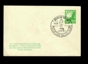 Berlin 1936, Postwertzeichen Ausstellung Neuköllner Philatelisten, Olypmpia