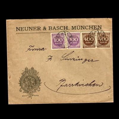 München Neuner & Basch, Marken mit PERFIN, NB nach Pfarrkirchen 1923