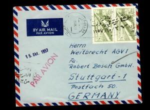 air mail 1957 Beyrouth nach Stuttgart